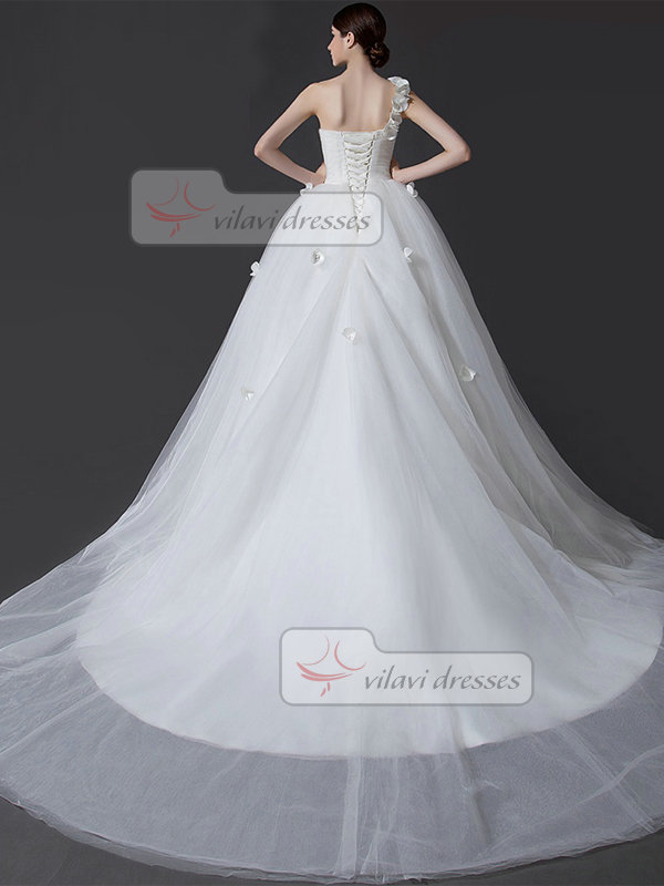 Ball Gown One Shoulder Court Train Tulle Beading Wedding Dresses
