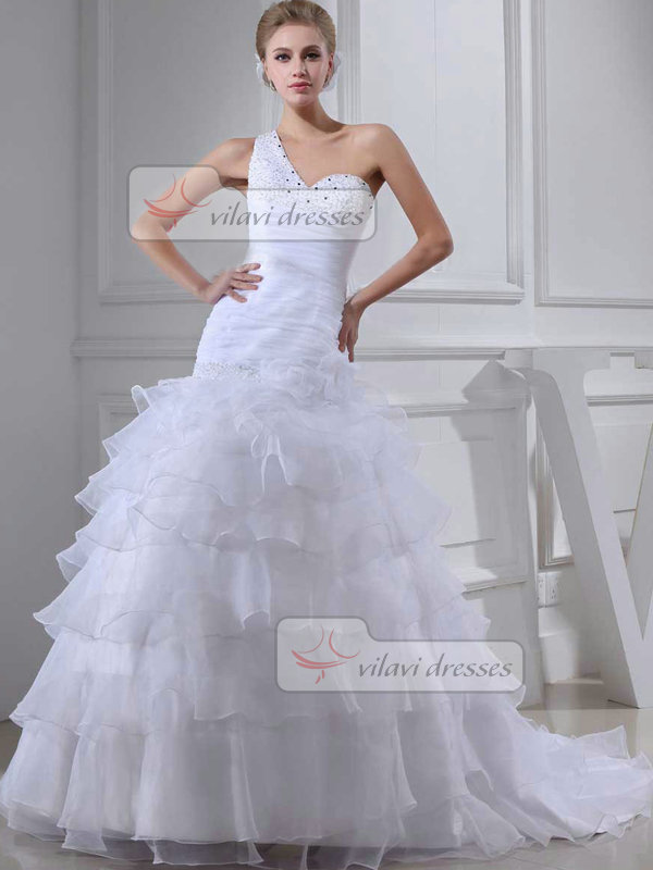 Over Hip One Shoulder Sweep Organza Beading Tiered Wedding Dresses