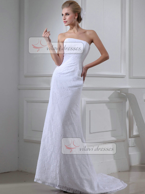 Over hip tube top strapless brush train lace wedding for Best wedding dress for big hips