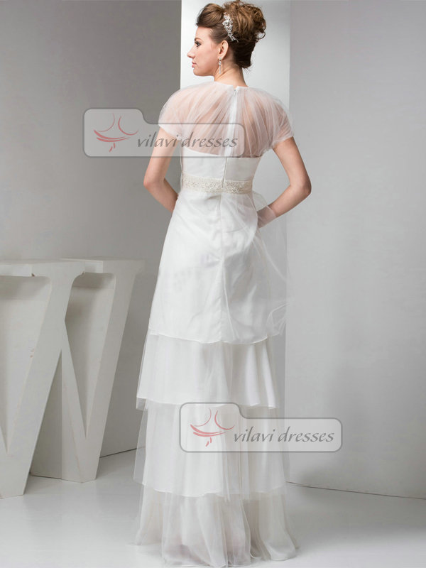 A-line Round Brought Floor-length Organza Short Sleeve Beading Wedding Dresses With Semi Transparent