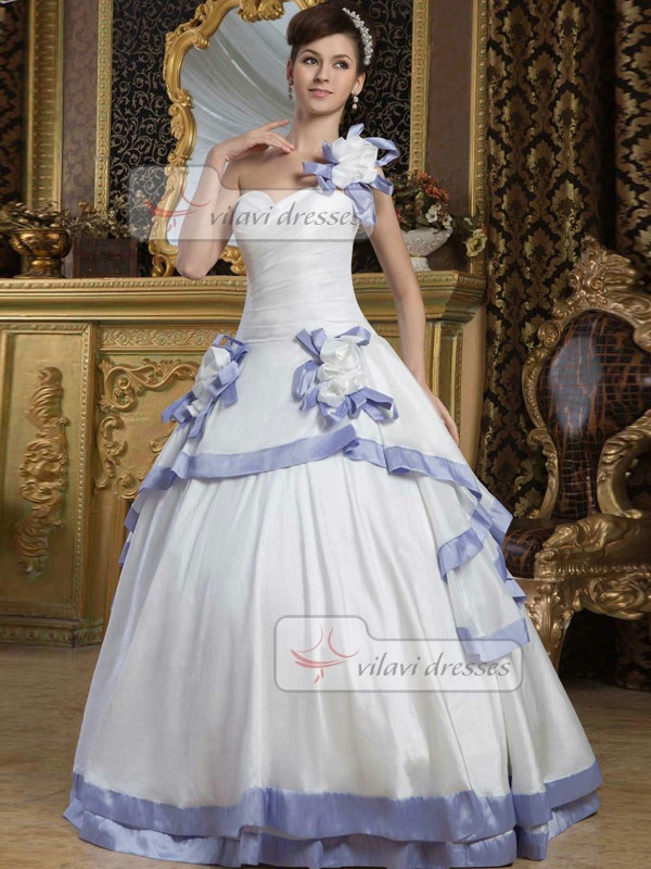 Ball Gown One Shoulder Floor-length Satin Tiered Wedding Dresses