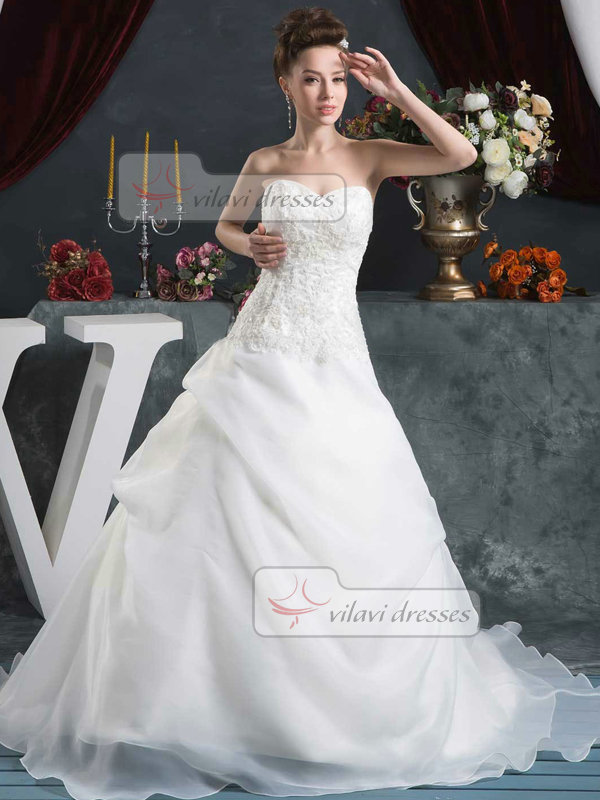 Mermaid Sweetheart Brush Train Organza Sequin Lace Wedding Dresses