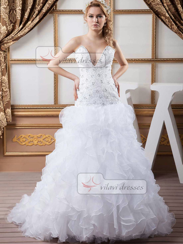 Mermaid Strapless Brush Train Organza Crystal Sequin Wedding Dresses