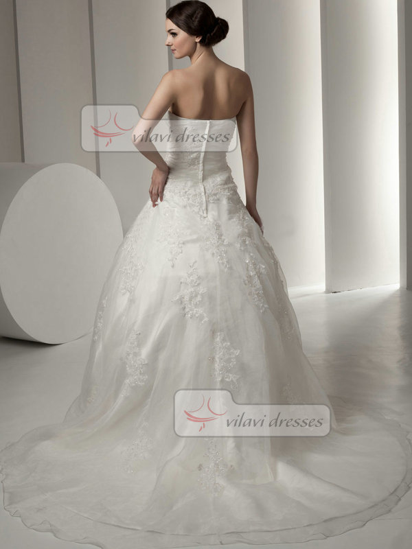Ball Gown Strapless Court Train Organza Sequin Lace Wedding Dresses