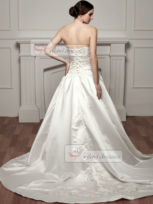 A-line Strapless Court Train Satin Sequin Wedding Dresses