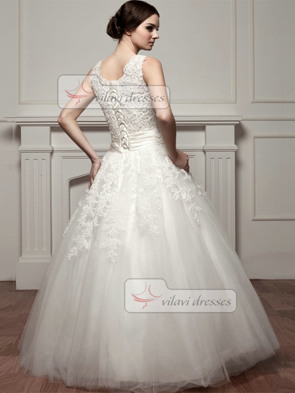 A-line Scalloped-edge Floor-length Tulle Beading Lace Wedding Dresses
