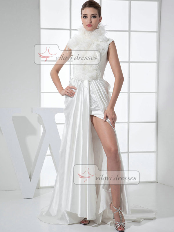 A-line High Neck Brush Train Satin Open Back Split Front Wedding Dresses