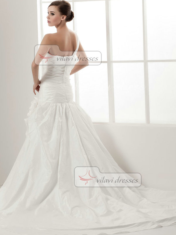Over Hip One Shoulder Court Train Taffeta Tiered Wedding With Dresses Flower