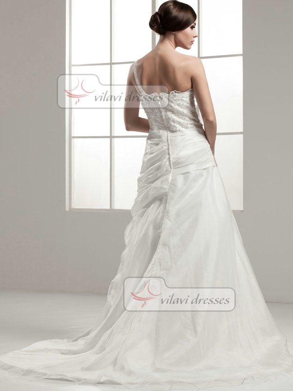 A-line One Shoulder Brush Train Organza Beading Sequin Wedding Dresses