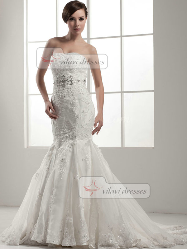 Mermaid Strapless Brush Train Crystal Beading Lace Wedding Dresses