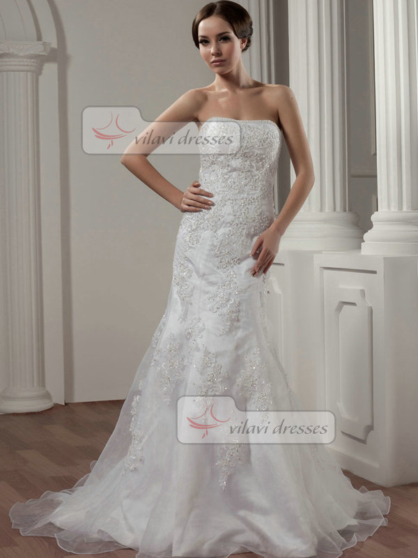 Over Hip Strapless Brush Train Organza Beading Crystal Wedding Dresses
