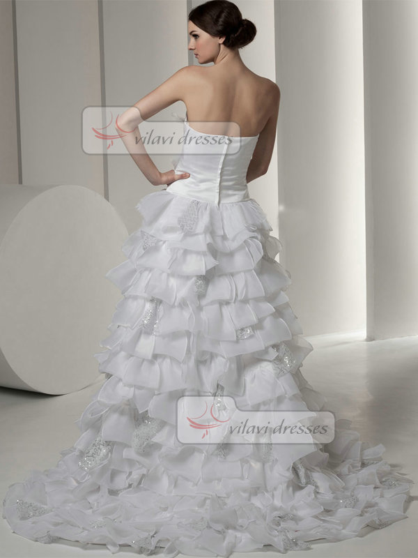 A-line Strapless Brush Train Organza Tiered Sequin Wedding Dresses