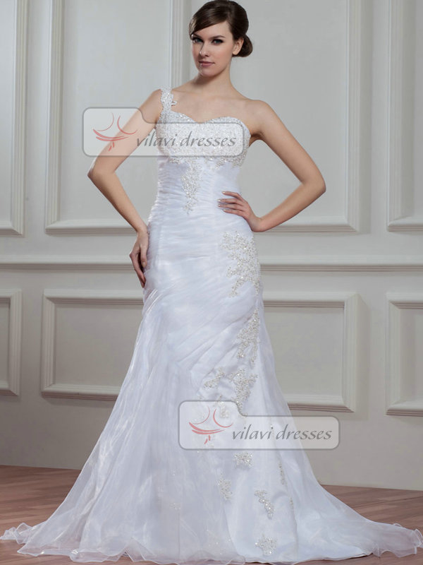 Over Hip One Shoulder Brush Train Organza Beading Wedding Dresses