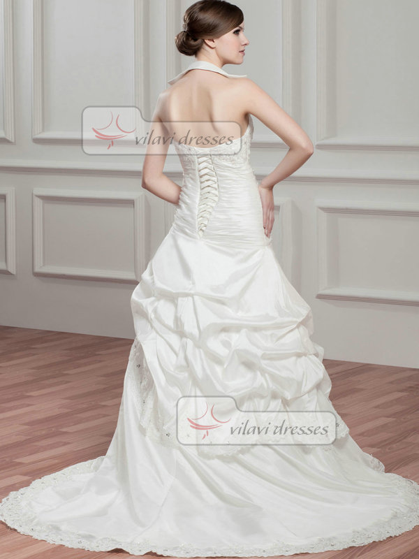 Over Hip Bateau Brush Train Taffeta Beading Crystal Wedding Dresses