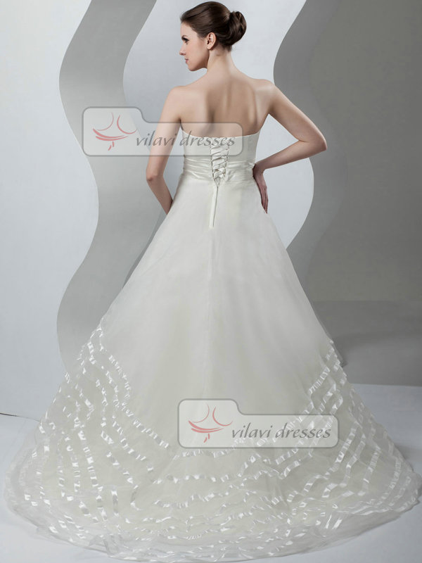 A-line Tube Top Strapless Brush Train Organza Tiered Wedding Dresses