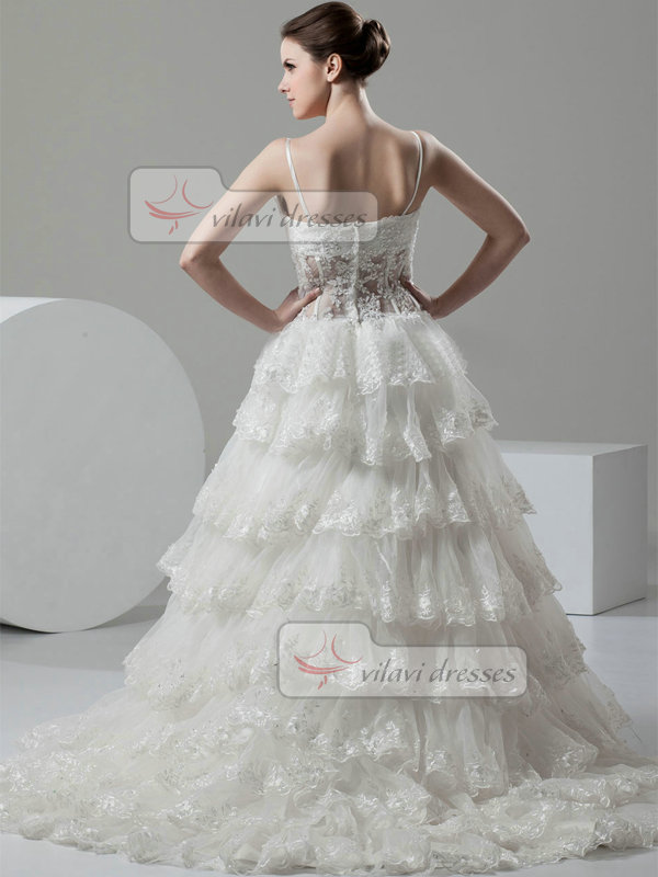 A-line Spaghetti Straps Brush Train Tulle Tiered Lace Wedding Dresses