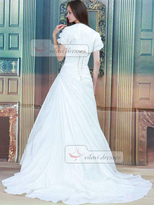 A-line Sweetheart Brush Train Satin Short Sleeve Beading Wedding Dresses With Jacket