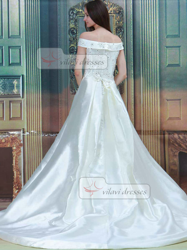A-line Off-the-shoulder Brush Train Satin Beading Wedding Dresses With Crystal