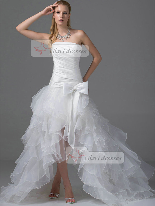 Over hip tube top sweep organza ruffle bowknot wedding for Wedding dresses for big hips