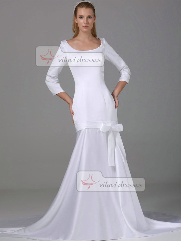 Mermaid Scoop Court Train Satin 3/4 Length Sleeve Wedding Dresses With Bowknot
