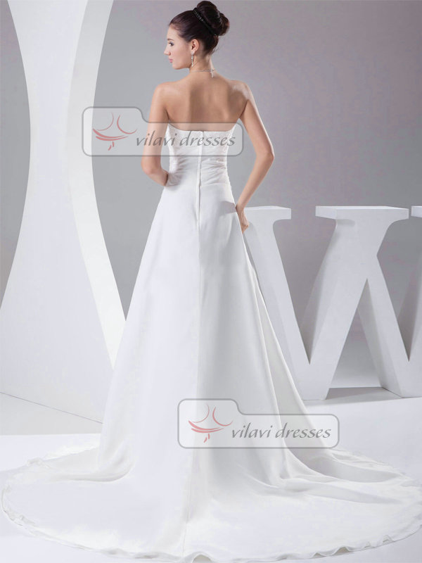 A-line Tube Top Court Train Chiffon Sequin Wedding Dresses