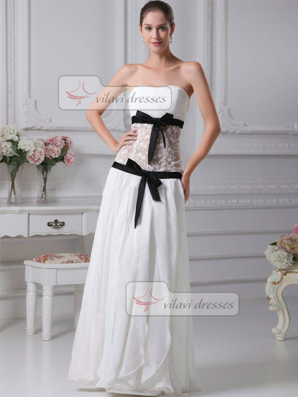 A-line Sweetheart Floor-length Chiffon Bowknot Wedding Dresses