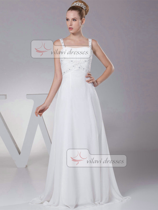A-line Straps Brush Train Chiffon Sequin Crystal Wedding Dresses