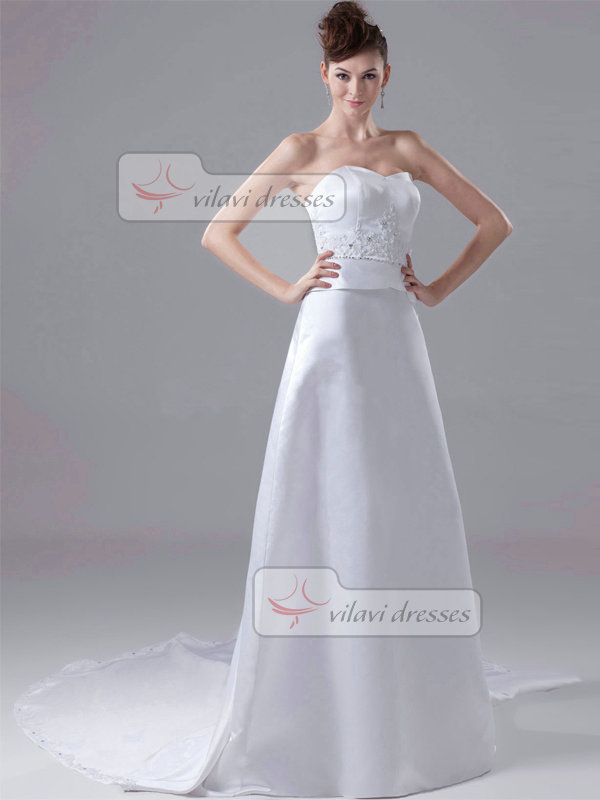 A-line Sweetheart Strapless Court Train Satin Crystal Wedding Dresses