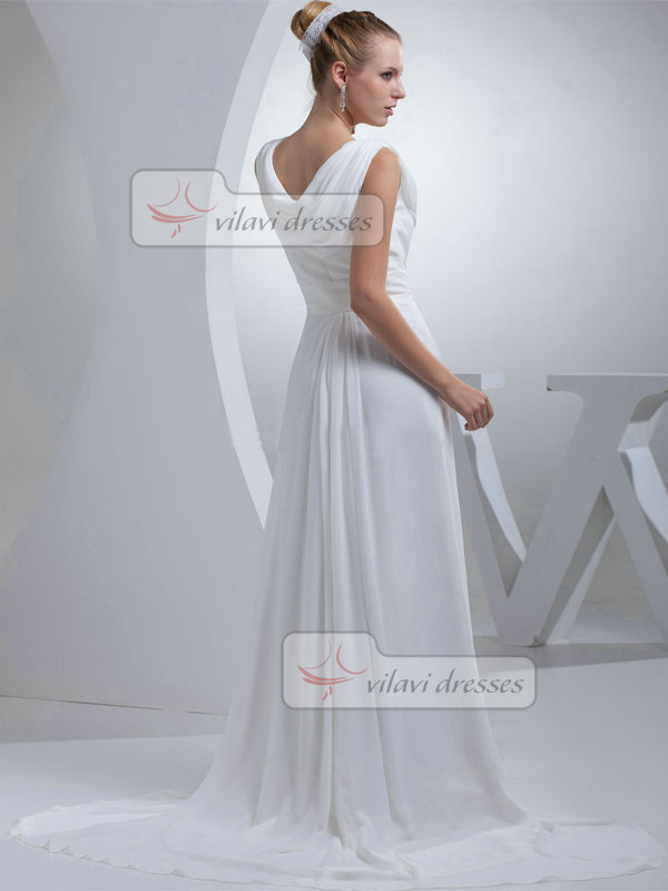 A-line V-neck Brush Train Chiffon Draped Wedding Dresses