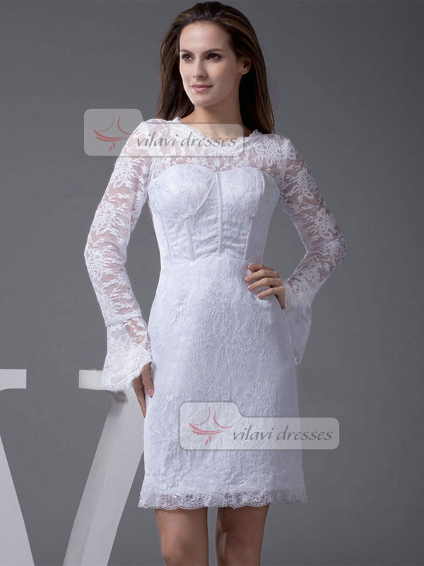 Column Scalloped-edge Short Long Sleeve Lace Wedding Dresses