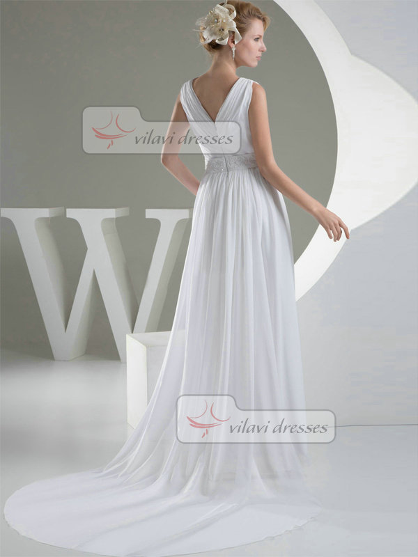 A-line V-neck Court Train Chiffon Crystal Draped Wedding Dresses
