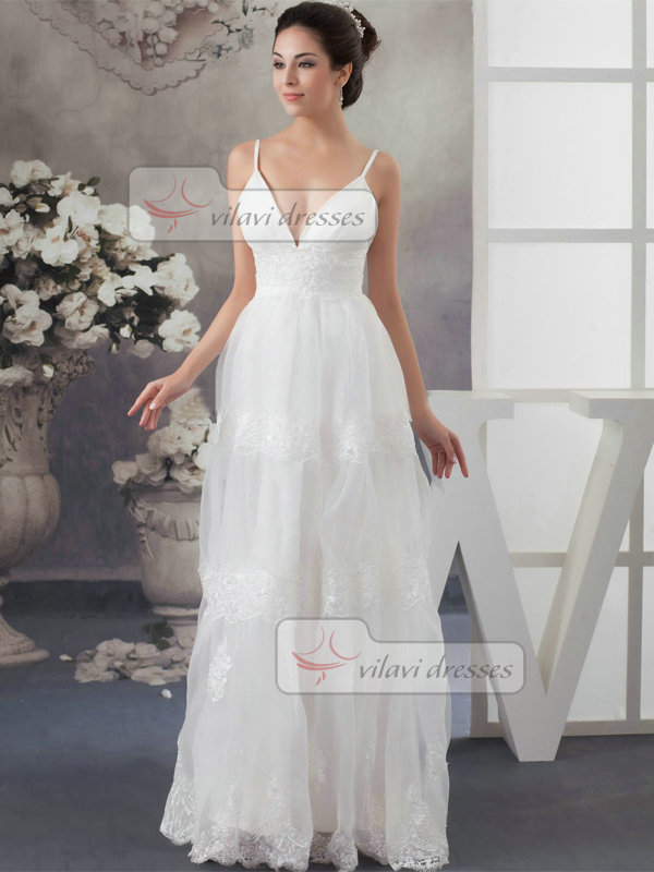 A-line Spaghetti Straps Floor-length Tulle Lace Wedding Dresses