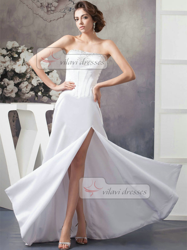 A-line Tube Top Floor-length Satin Split Front Crystal Wedding Dresses With Sequin