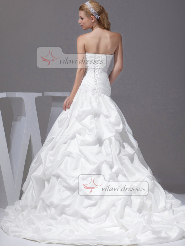 Over Hip Sweetheart Sweep Taffeta Pick-Ups Sequin Wedding Dresses