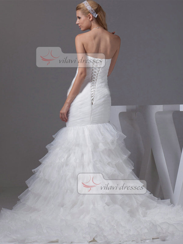 Mermaid Sweetheart Sweep Tulle Crystal Beading Wedding Dresses