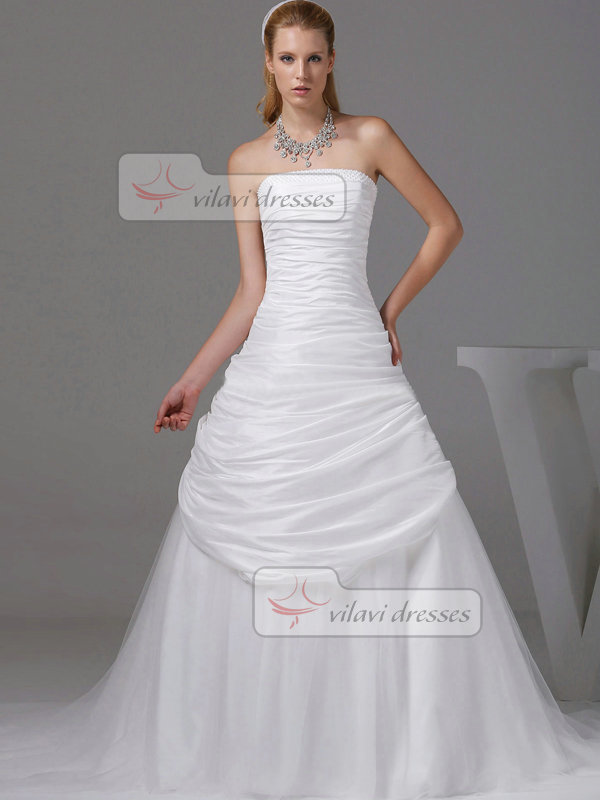 A-line Tube Top Sweep Tulle Beading Tiered Wedding Dresses
