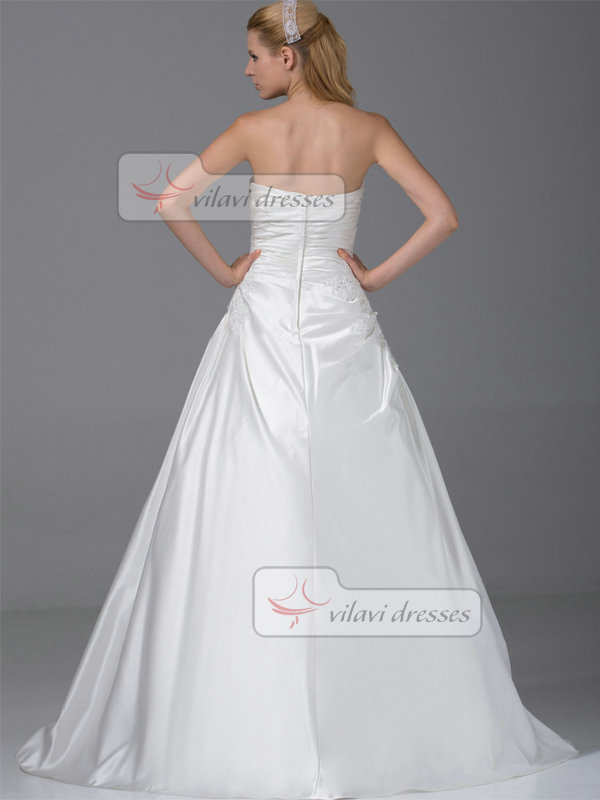 A-line Tube Top Floor-length Satin Sequin Appliques Wedding Dresses