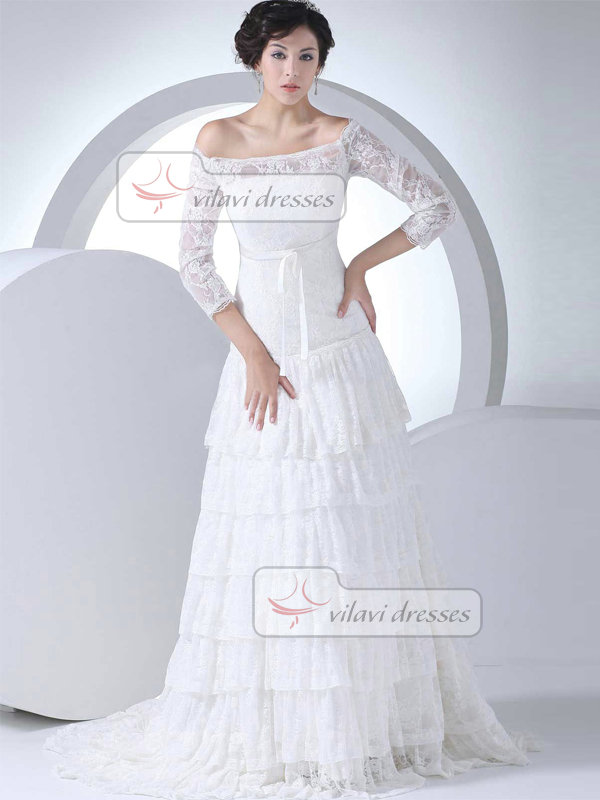 A-line Off-the-shoulder Sweep 3/4 Length Sleeve Lace Wedding Dresses With Sashes
