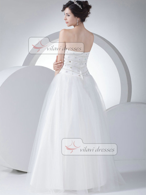 Ball Gown Sweetheart Floor-length Tulle Crystal Wedding Dresses