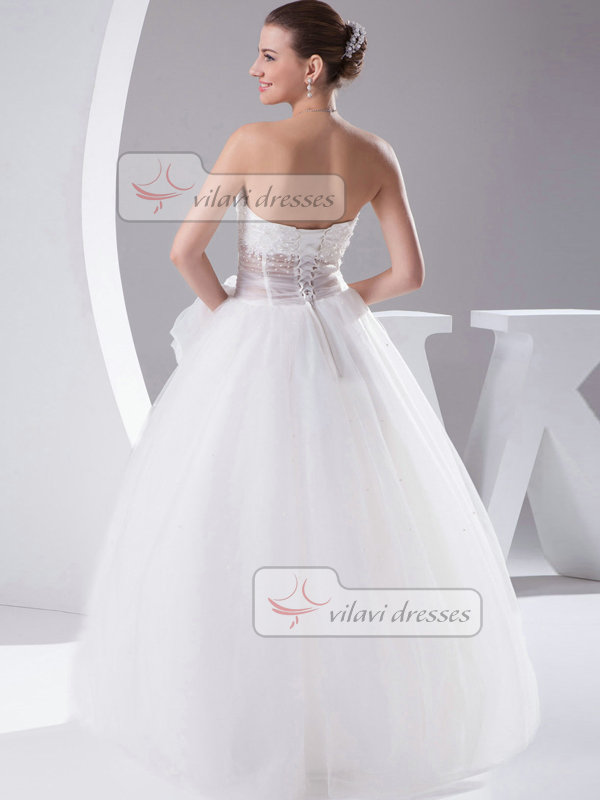 Ball Gown Strapless Floor-length Tulle Beading Bowknot Wedding Dresses With Semi Transparent