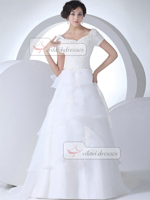 A-line Scoop Brush Train Organza Sequin Short Sleeve Wedding Dresses