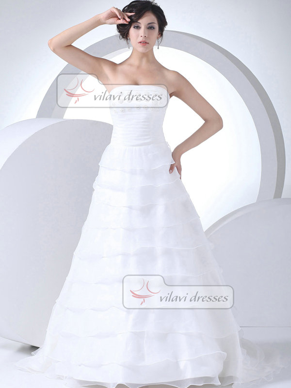 A-line Tube Top Sweep Tulle Flower Beading Tiered Wedding Dresses