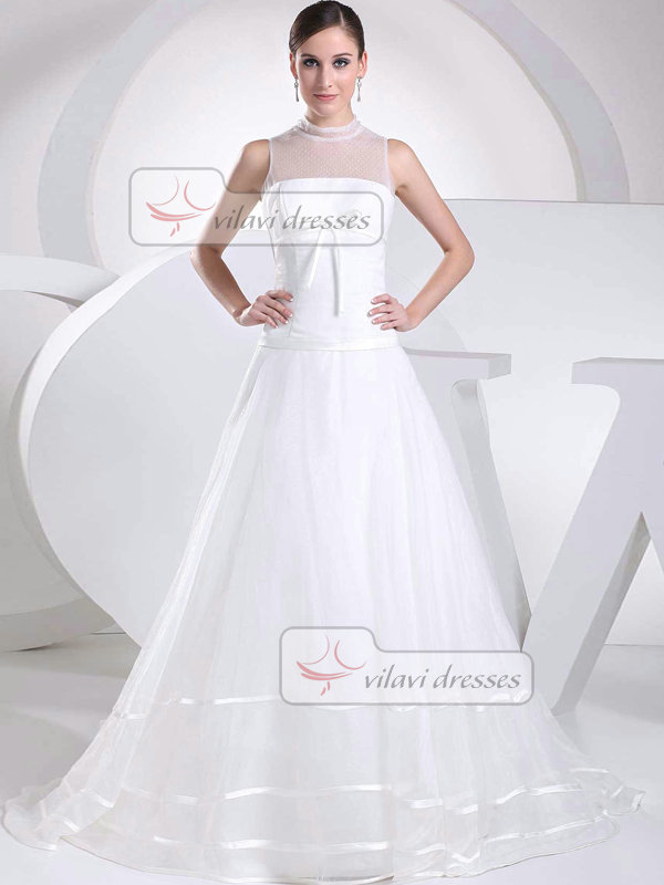 A-line High Neck Brush Train Tulle Bowknot Wedding Dresses With Semi Transparent