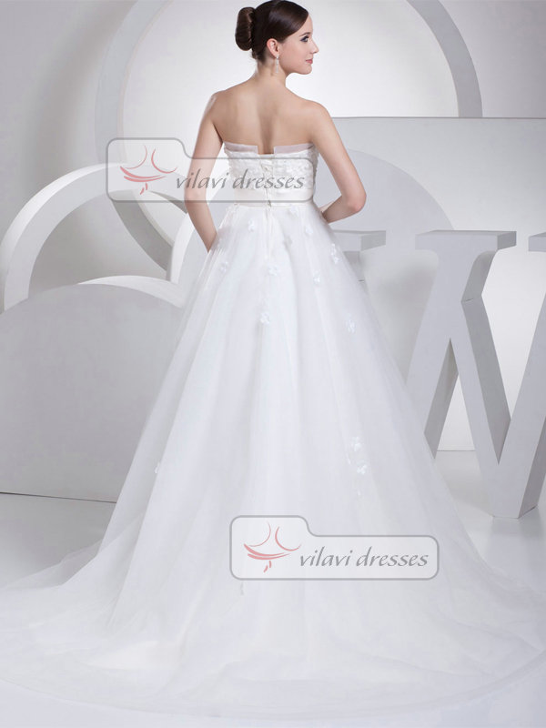 A-line Tube Top Sweep Tulle Crystal Bowknot Flower Wedding Dresses
