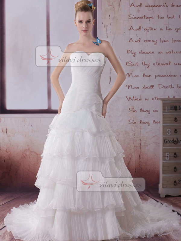 Over Hip Sweetheart Brush Train Organza Tiered Wedding Dresses