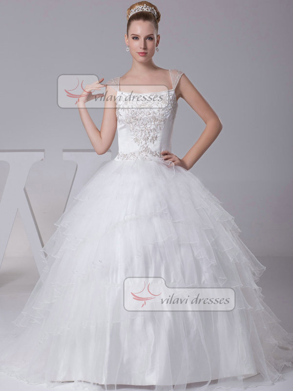 Ball Gown Straps Brush Train Organza Embroidery Sequin Wedding Dresses