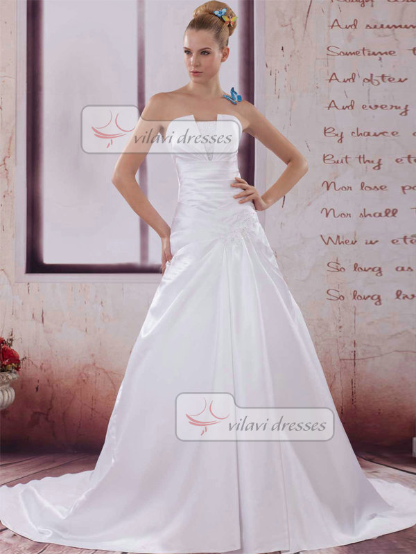 A-line Scalloped-edge Brush Train Satin Sequin Tiered Wedding Dresses