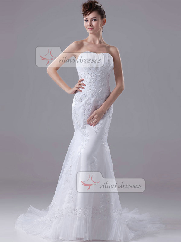 Mermaid Sweetheart Sweep Tulle Beading Sequin Wedding Dresses
