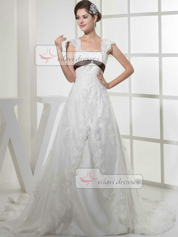 A-line Scalloped-edge Sweep Organza Cap Sleeves Lace Wedding Dresses With Bowknot