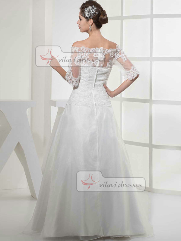 A-line Scalloped-edge Floor-length Organza Lace Wedding Dresses